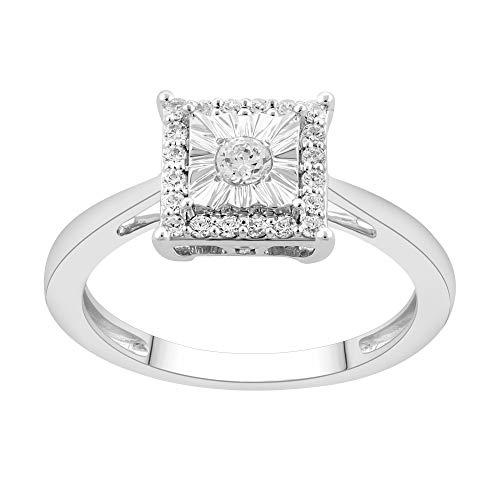 NATALIA DRAKE 1/4CTW Halo Genuine Diamond Princess Cut -Square Ring Sz 6 ()