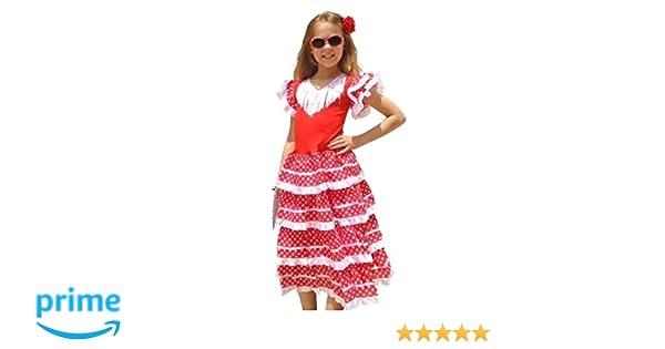 La Senorita Vestido Flamenco Español Traje de Flamenca chica/niños blanco rojo (Talla 4, 92-98 - 65 cm, 3/4 años, rojo)