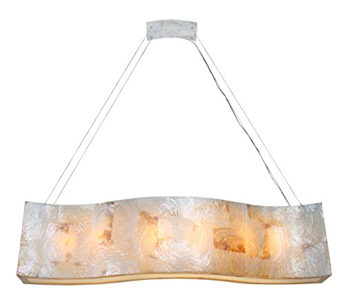 Varaluz 178N06A Big 6-Light Linear Pendant - Reclaimed Kabebe Shell