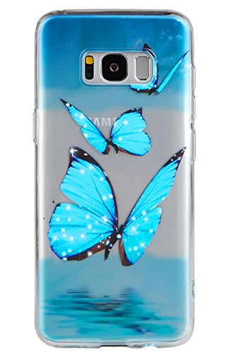 Yellow Butterfly Roses (Galaxy S8 Plus Case,3Cworld Ultra Thin Clear Art Pattern Crystal Gel TPU Rubber Flexible Slim Skin Soft Case for Samsung Galaxy S8 Plus (Butterfly Ocean - Sky Blue))