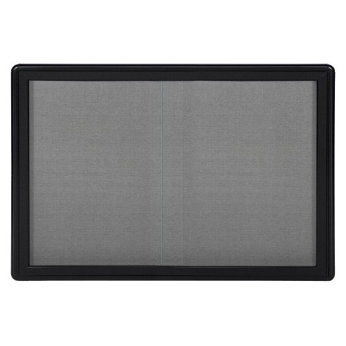 Ghent 34''x47'' 2-Sliding Doors Ovation Gray Fabric Bulletin Board, Black Frame, Made in the USA by Ghent