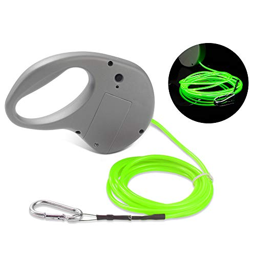 WREOW EL Light-up Dog Leash Luminous 3 Modes Strong Lightweight Steel Wire Dog Training Walking Leash for Small,Medium and Large Dogs,Powered by 2AA Battery (Batteries not Included)