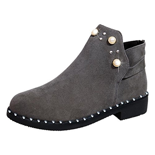 Gray Inkach Warm Faux Back Boots Suede Block Womens Booties Zipper by Heel Ankle Fashion Pearl Shoes qHTZwUA