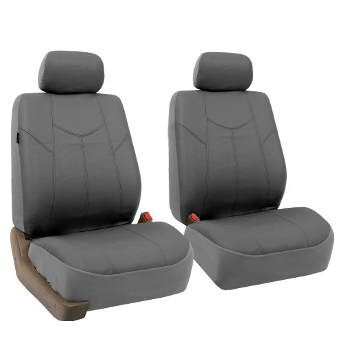 FH Group PU009GRAY102 Gray Rome PU Leather Front Seat Cover, Set of 2 (Airbag Ready) -