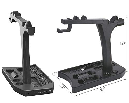 KJH PSVR Multifunction Vertical Stand For PS4,Slim,Pro,PSVR,PSVR2 - Charge, Cool, Showcase, Cooler, Headset Storage… 5