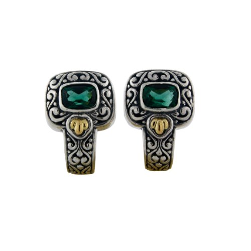 Stereling silver 18k Gold Accent Filigree Design Emerald-Quartz French Clip and Post Earring by Avatar Sterling