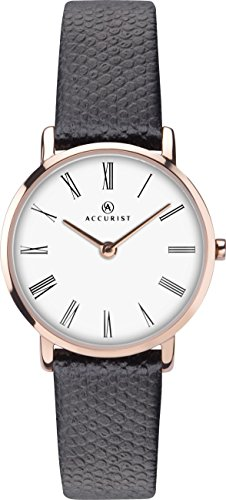 Accurist Ladies Analogue Quartz Watch With White Dial And Black Leather Strap 8183