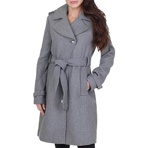 GUESS Women's Wool Blend Belted Winter Midi Coat Gray Size L