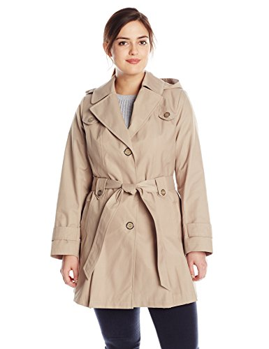 Via Spiga Women's Plus-Size Single-Breasted Belted Trench Coat with Hood, Sand, 1X