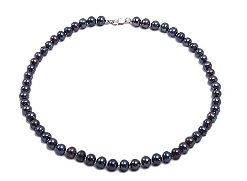 JYX Sterling Silver Round Black Cultured Freshwater Pearl Necklace Strand 18