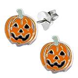 """Pro Jewelry .925 Sterling Silver """"Jack-O-Lantern Pumpkin"""" Stud Earrings for Women & Children 4432"""