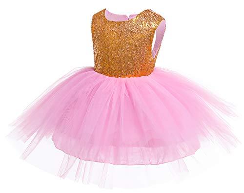 Kokowaii Fancy Toddler Baby Girls Sequin Tutu Dress Girls Pageant Party Dress Flower Girls Dress Pink]()