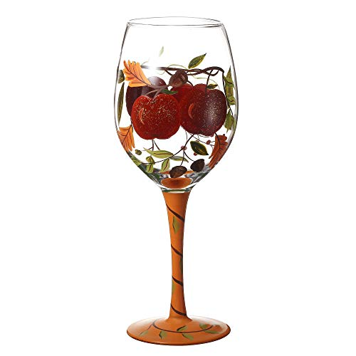 V-More Wine Glass Hand-Painted Apples for Gift Entertaining 20 oz (Set of 1)