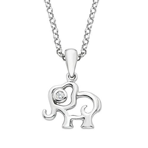 Little Diva Diamonds 925 Sterling Silver .01 Cttw. Diamond Accent Elephant Pendant Necklace with 16