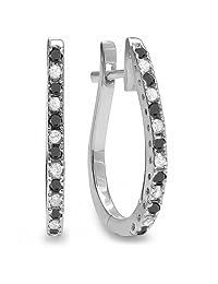 14K White Gold Ladies Hoop Earrings