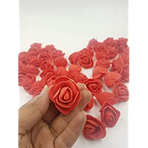 SATYAM KRAFT Artificial Foam Roses (Red, 50 Pieces)