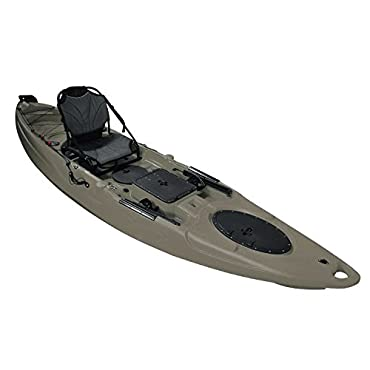 Brooklyn Kayak Company UH-RA220 Riptide Angler Sit On Top Fishing Kayak with Paddles and Upright Chair and Rudder System (Army Green)