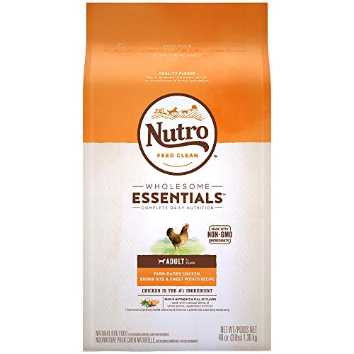 - NUTRO WHOLESOME ESSENTIALS Natural Adult Dry Dog Food Farm-Raised Chicken, Brown Rice & Sweet Potato Recipe, 3 lb. Bag