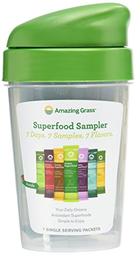 Amazing Grass Shaker Cup and 7 Flavors Of Green Superfood Packets, 159 Gram