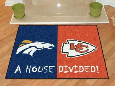 House Divided: Denver Broncos - Kansas City Chiefs Rug
