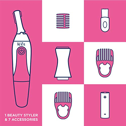Hair Removal Electric Trimmer – Veet Expert Sensitive Precision Beauty Styler for Underarms, Eyebrows and Bikini Hair Removal with 8 Accessories and Beauty Bag, 1 Count