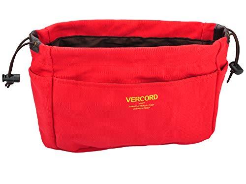 Vercord Canvas Handbag Organizers, Sturdy Purse Insert Organizer Bag in Bag, 13 Pockets 4 Colors Red Small ()