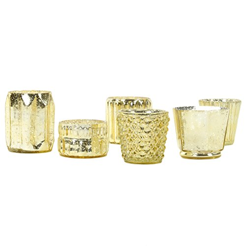d Mercury Glass Candle Holders, 6-Pack, Mismatched Candle Holders for Candle Votives, Assorted Modern Geometric Decor, Quinceanera, Bridal Shower, Baby Shower(Gold) ()