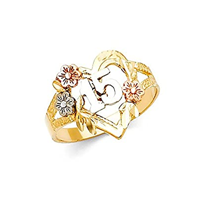 14K Tri-Color Gold Heart Flower 15 Anos Quinceanera Ring from American Set Co.