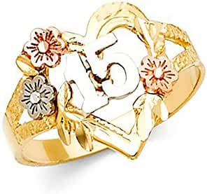 14K Tri-Color Gold Heart Flower 15 Anos Quinceanera Ring