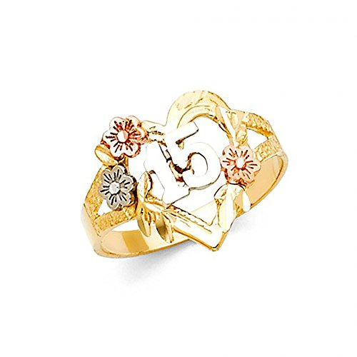 American Set Co. 14K Tri-Color Gold Heart Flower 15 Anos Quinceanera Ring ()