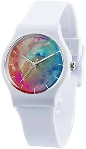 Tonnier Watches Resin Super Soft Band Student Watches for Teenagers Young Girls Starry