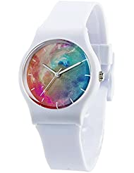 Tonnier Watches White Resin Super Soft Band Student Watches for Teenagers Young Girls Nebula