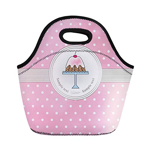 Semtomn Lunch Bags Bakery Agreeable Cake and Pink Polka Dots Bake Cherry Neoprene Lunch Bag Lunchbox Tote Bag Portable Picnic Bag Cooler Bag