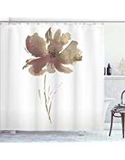 """Ambesonne Watercolor Flower Shower Curtain, Single Poppy Flower on Plain Clear Background Nature Inspired Romantic, Cloth Fabric Bathroom Decor Set with Hooks, 75"""" Long, Cocoa White"""