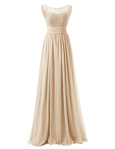 DRESSTELLS Long Prom Dress Scoop Bridesmaid Dress Lace Chiffon Evening Gown Champagne Size 8