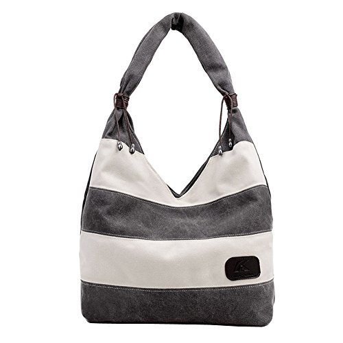 Hobo Medium Tote (Ecokaki Women's Hobo Tote Bag Canvas Straped Bag Large Handbag Shopper Shoulder Bag Gray)