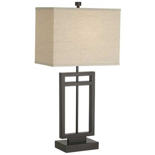 Pacific Coast Lighting 87-6576-20 Central Loft 1-Light Table Lamp, Bronze Finish with Linen Fabric Shade, 30.5