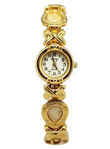 Watch Becora Quartz Gold Tone Tear Drop Links w/Faux Pearl Centers (20mm) ()