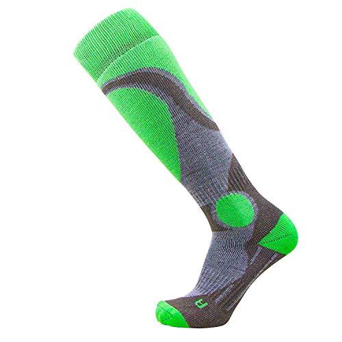Pure Athlete Elite Ski Socks – Lightweight Merino Wool Warm Skiing Sock for Men and Women (M, Neon Green)