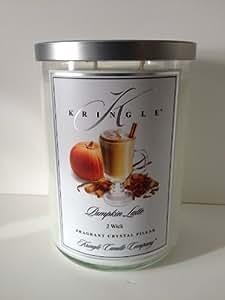 Kringle Candle 2 Wick Large Crystal Pillar Pumpkin Latte