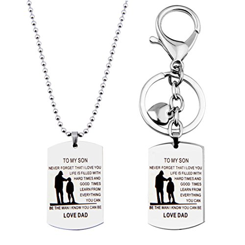 Pendant Dog Tag Combo (MAOFAED Father Son Jewelry To My Son Dog Tag Necklace Key Chain Sets Metal Military Father To Son Gift (To my Son Jewelry Set))