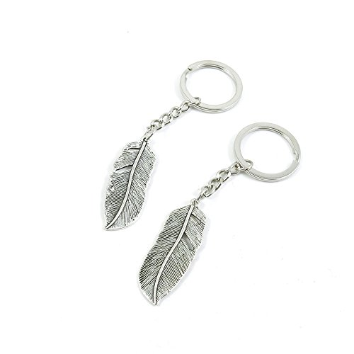 [10 Pieces Keychain Door Car Key Chain Tags Keyring Ring Chain Keychain Supplies Antique Silver Tone Wholesale Bulk Lots N8HB4 Feather] (Wholesale Lot 10 Piece)