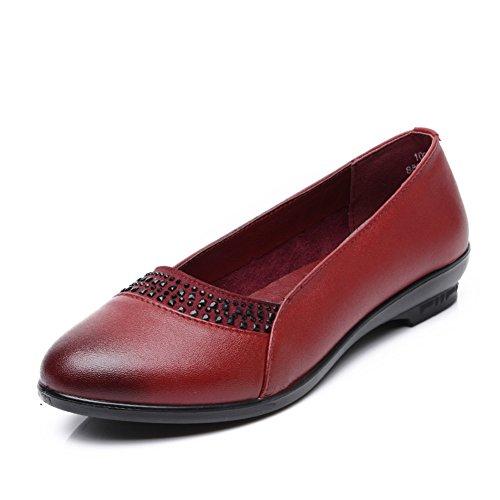 Zapatos ligeros de primavera/ los zapatos mamá mediana edad elegante/Zapatos de cuero ocasionales de talón plano con suela blanda para la señora A