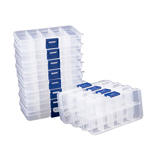 Clear Jewelry Box - 12-Pack Plastic Bead Storage Container, Earrings Storage Organizer with Adjustable Dividers, 10 Compartments Each, 5 x 0.8 x 2.6 Inches ()