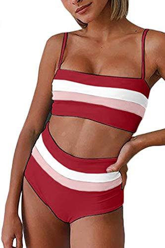 (FAFOFA Ladies High Waisted 2PCS Swimwear Stripe Removeable Straps Bandeau Strappy Bandage Bikini Set L Wine)