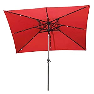 Abba Patio 7 By 9 Feet Rectangular Patio Umbrella With Solar Powered 32 LED  Lights With Tilt And Crank, Dark Red