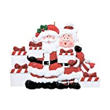 Personalized Santa and Mrs. Claus Presents of 5 Christmas Ornament - Mr. & Miss in Red Suit Bring Gifts - Family Friends Grand-Children Kids Tradition Surprise Toys - Free Customization (Five) -  Ornaments by Elves