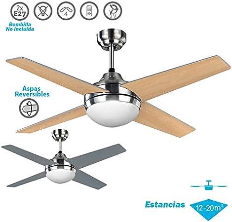 Ventilador de techo modelo EOLO con luz, control remoto, acabado ...