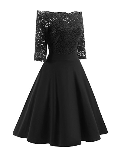 - Women's Vintage Dresses Lace Floral Boat Neck 3/4 Long Sleeve Swing Dress A-Line Cocktail Party Prom (M, Black)