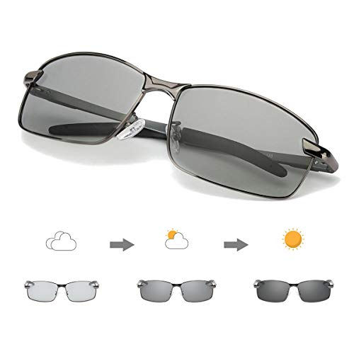 Enafad Mens Photochromic Sunglasses Polarized Outdoor Sports Sunglasses 100% UV400 Protection Driving Eyewear
